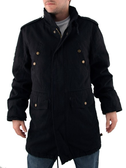 Mens Alpha Industries Black Fishtail Parka Jacket