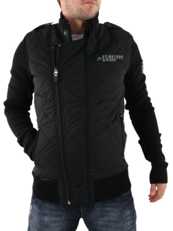 Mens Black Firetrap Quilted Jacket