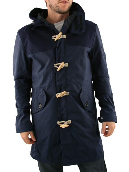 Mens Black Peter Werth Hooded Duffle Coat