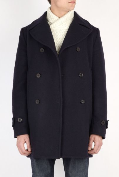 Mens Heritage Research Navy Melton Double Breasted Naval Coat