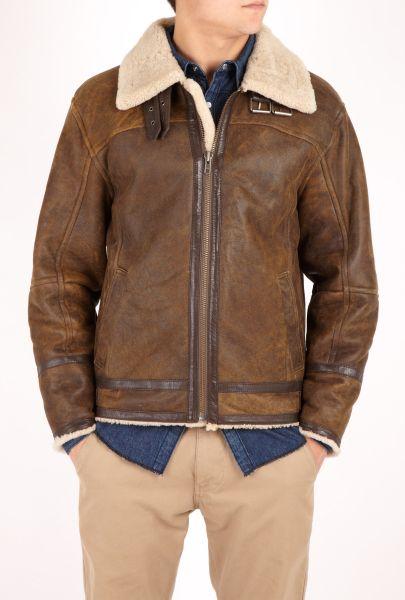 Mens Jofama Brown Shearling Flight Jacket