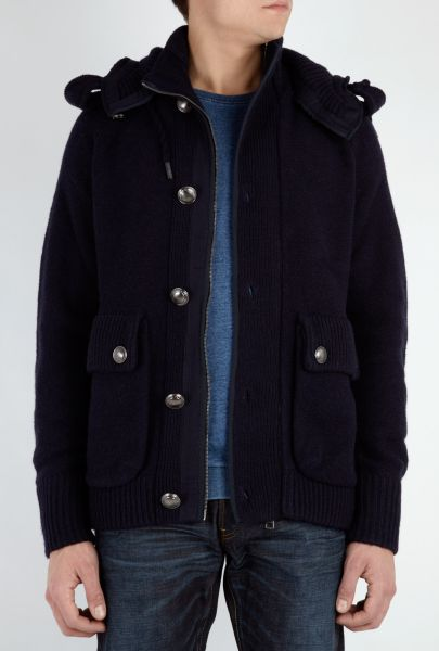 Mens Blue Burberry Military Knit Jacket